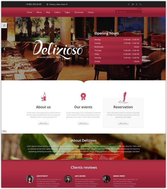 Delizioso Restaurant Responsive WordPress Theme