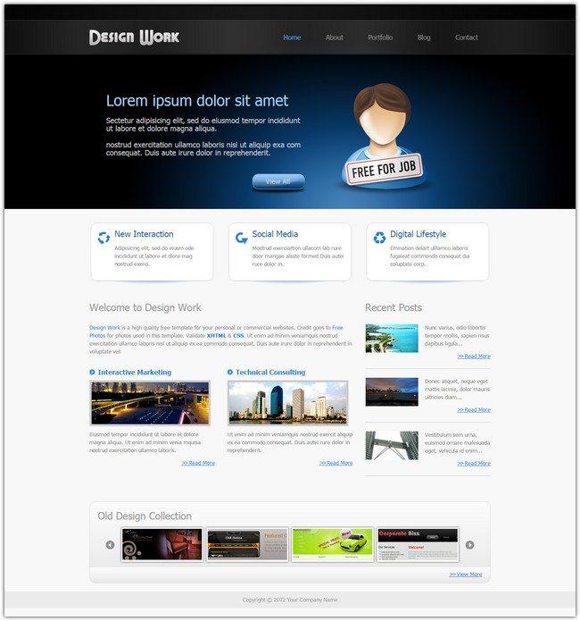 Design Work Dreamweaver Template