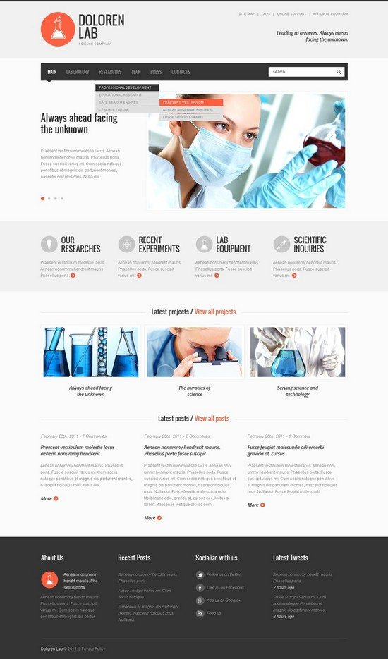 Doloren Lab Science Lab Website Template