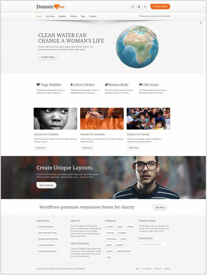 DonateNow WordPress Theme for Charity