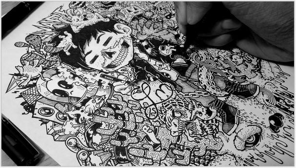 Doodle Art WIP Skully