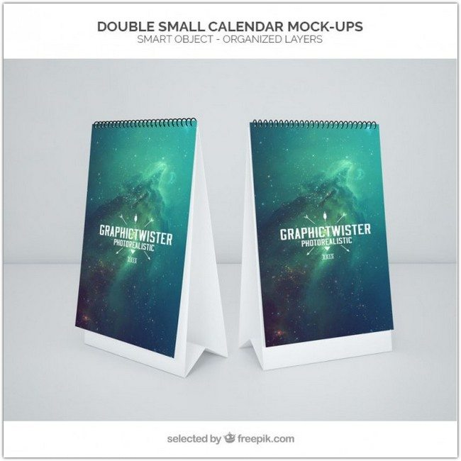 Double small calendar mockup Free Psd