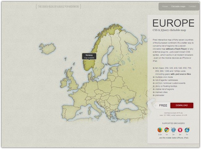 EUROPE CSS & jQuery clickable map