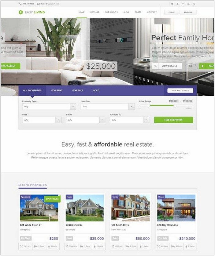 Easy Living – Real Estate WordPress Theme