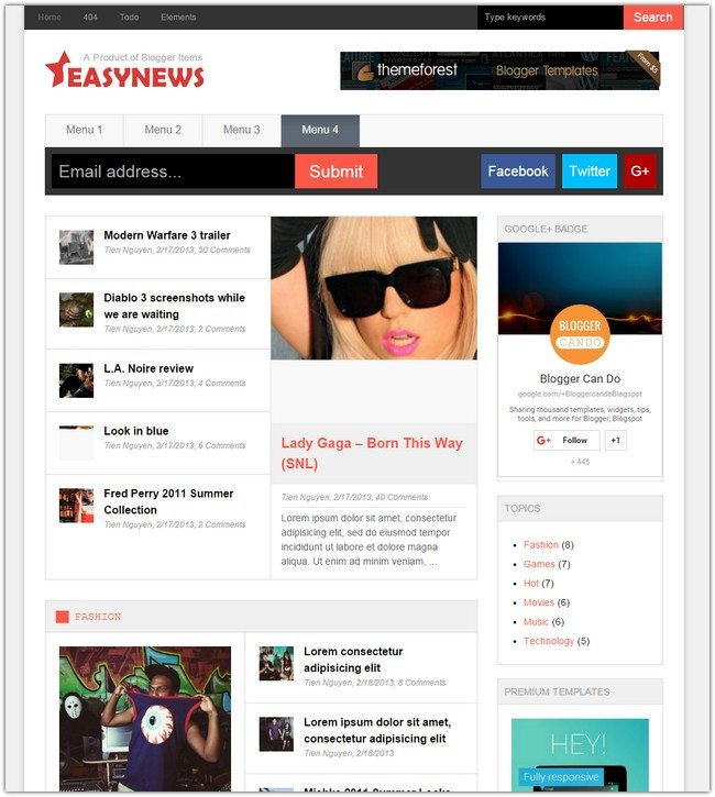 Easy News – Free Responsive Magazine Blogger Template