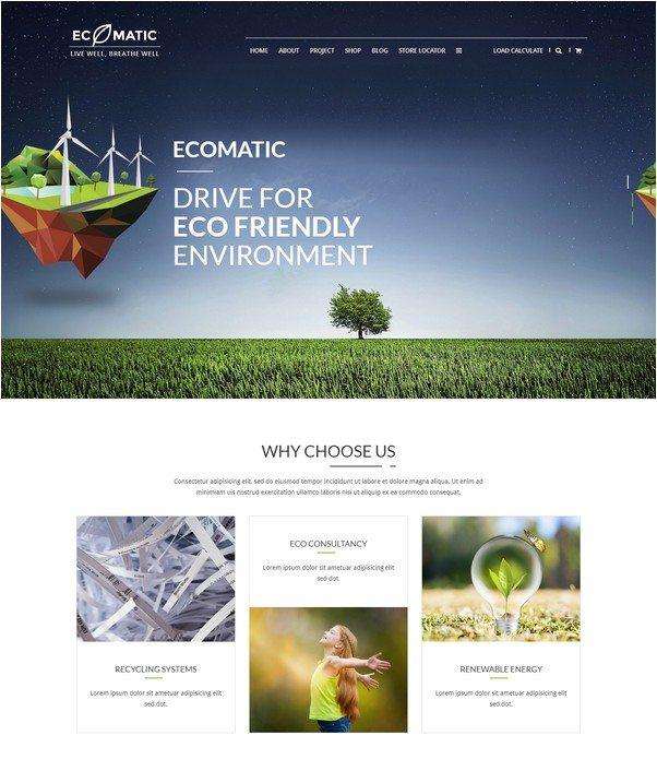 Ecomatic - Responsive WordPress Eco theme for Renewable Energy Businesses and Non Profit