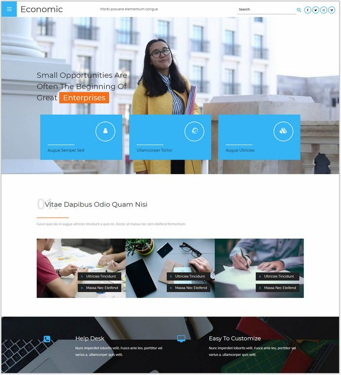 Economic a Corporate Business Category Web Template