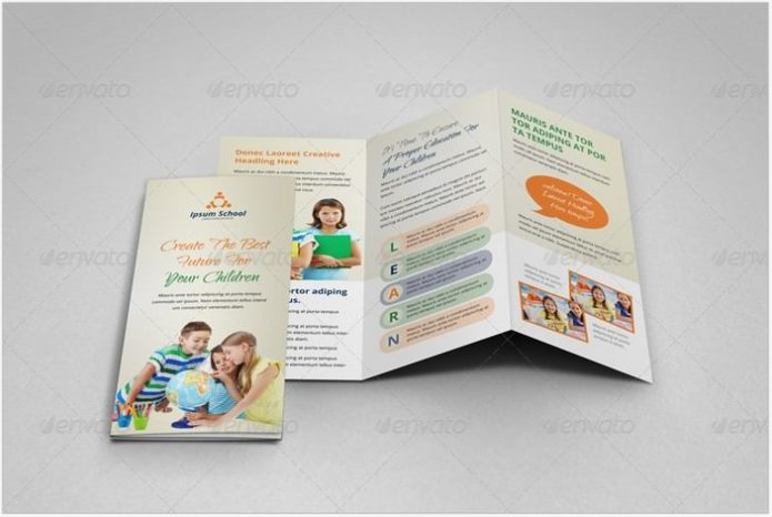 Education School Trifold Brochure Template