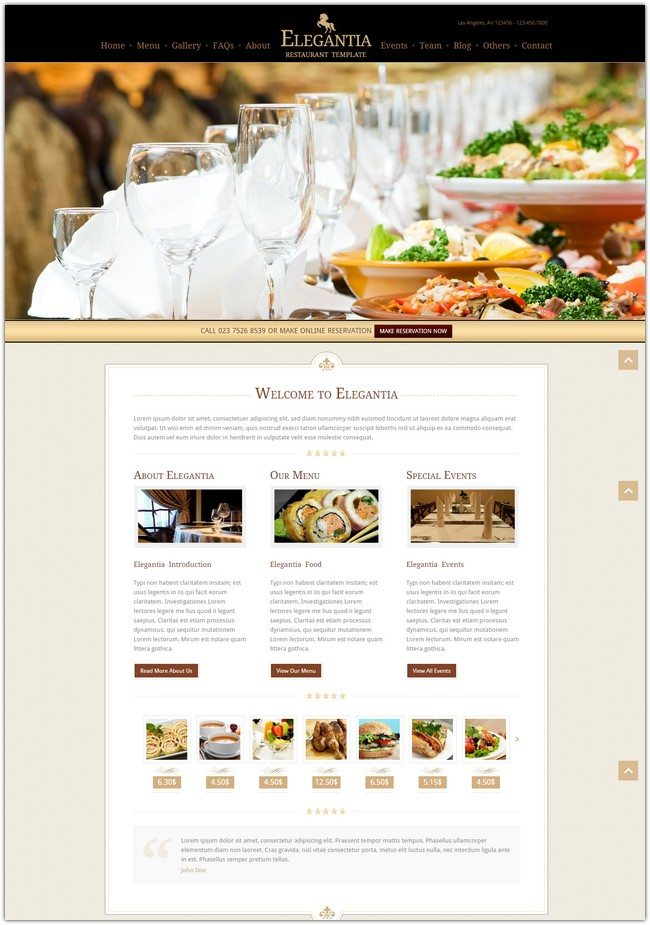 Elegantia - Restaurant and Cafe HTML Template