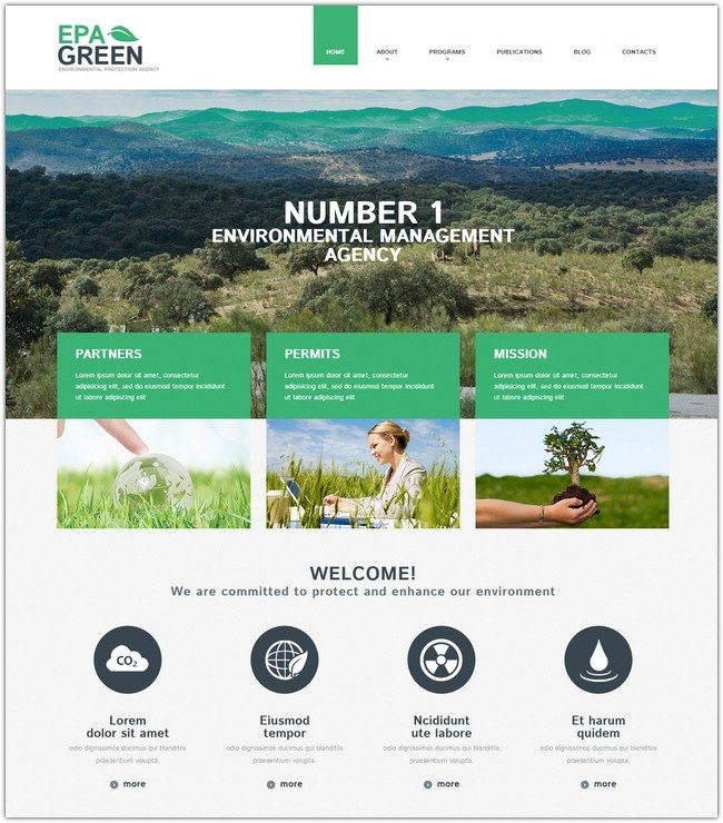 Environmental Green Responsive WordPress Theme