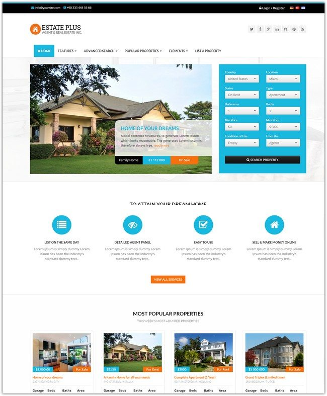 Estate Plus - Real Estate HTML5 Website Template