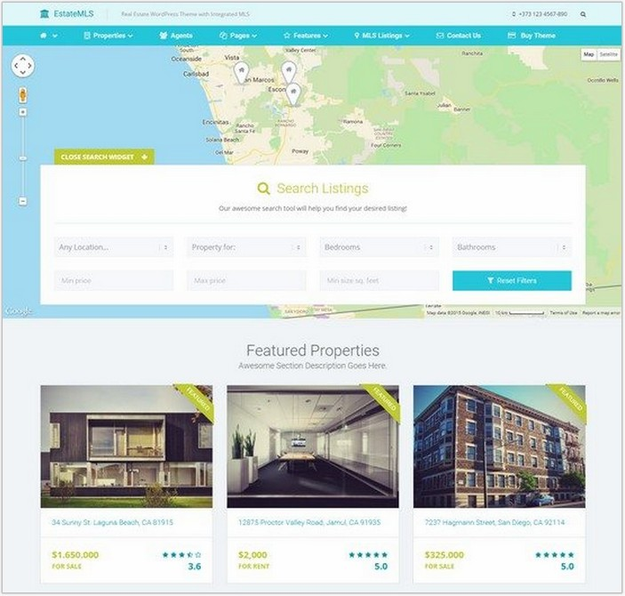 EstateMLS – Material Design Real Estate MLS Theme