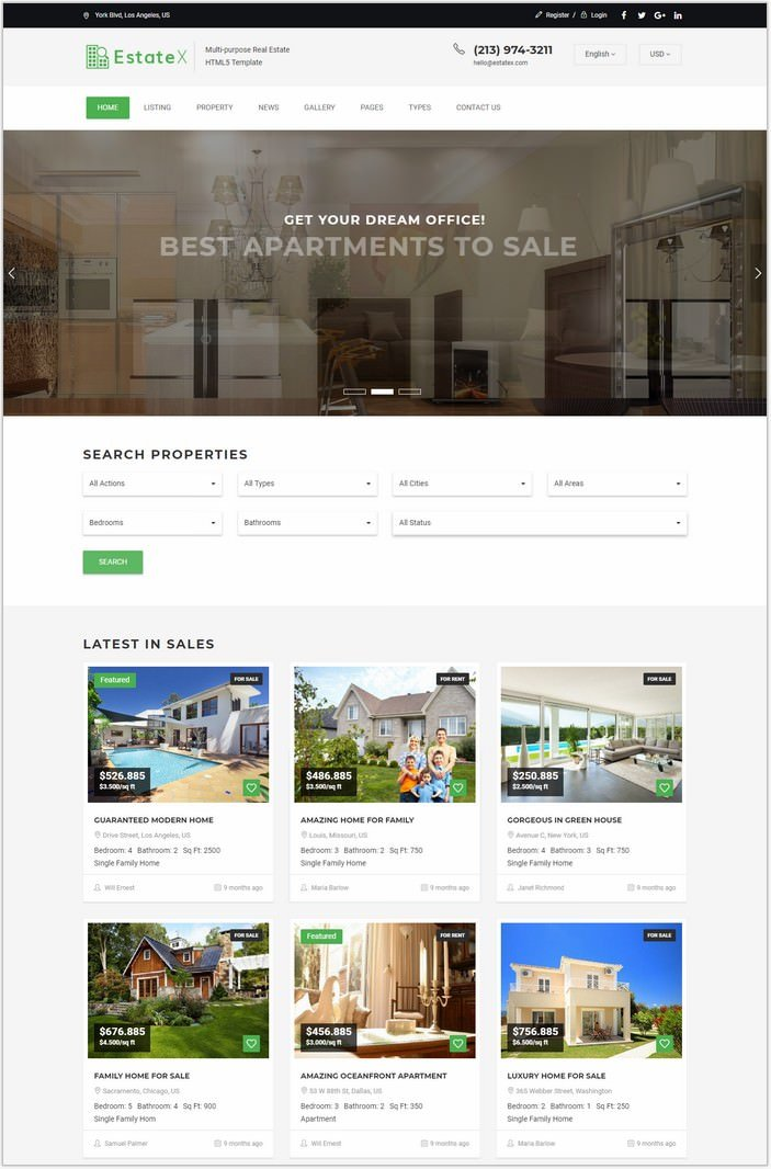 EstateX - Real Estate Classified Website Template