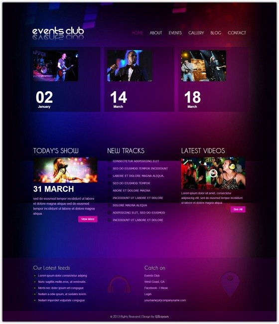Events Club a Entertainment Mobile Website Template
