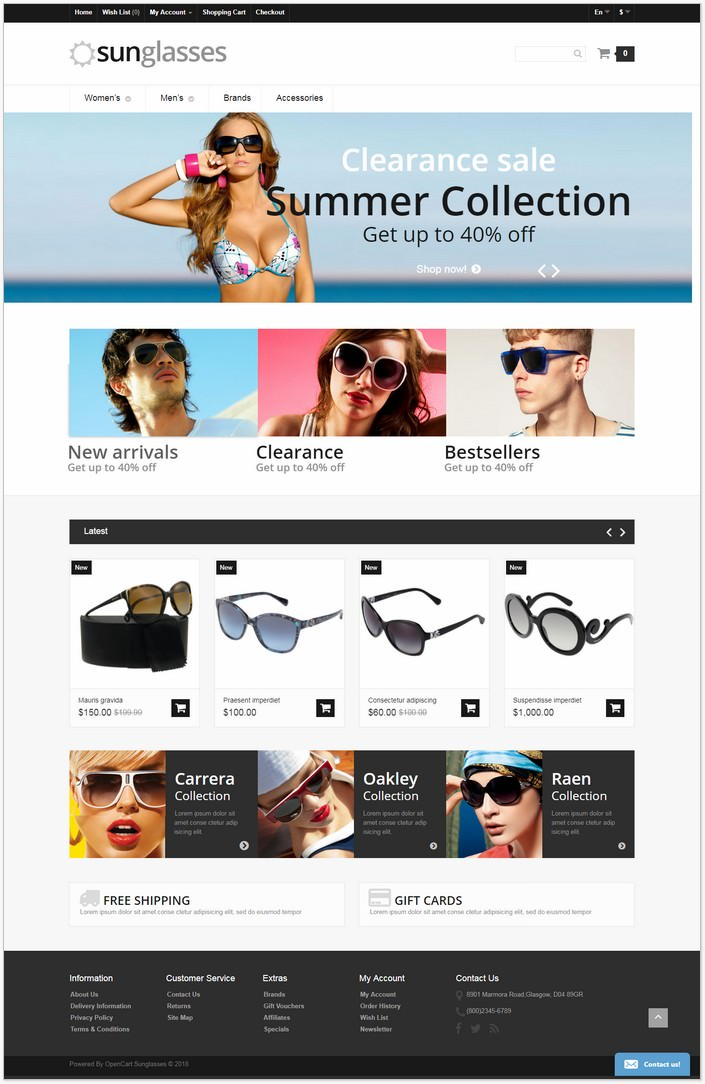 Eye Glasses Responsive OpenCart PHP Template