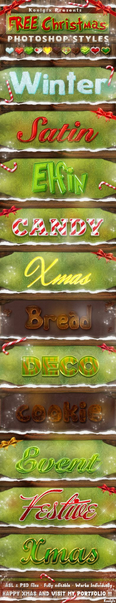 FREE Christmas Photoshop Styles – Text Effects