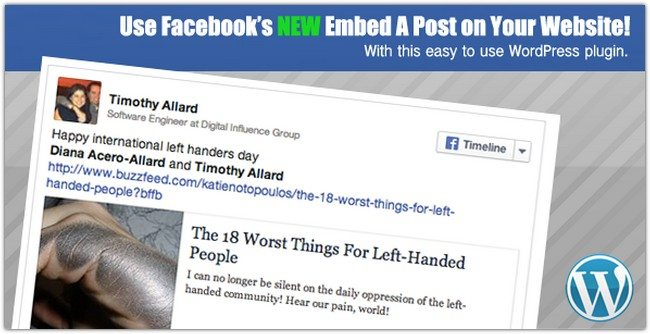 Facebook Embedded Posts WordPress Shortcode