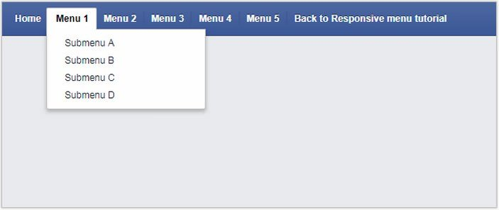 Facebook like menu (responsive)