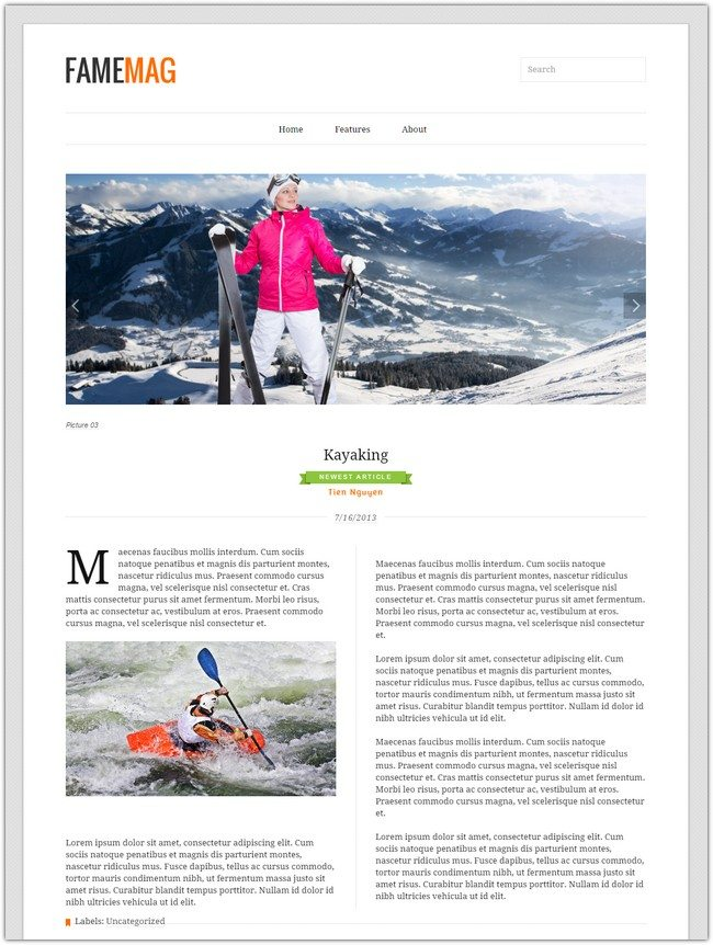 FameMag – Free Minimalist Blogger Template for News & Magazine