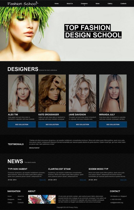 Fashion Design School Joomla Template