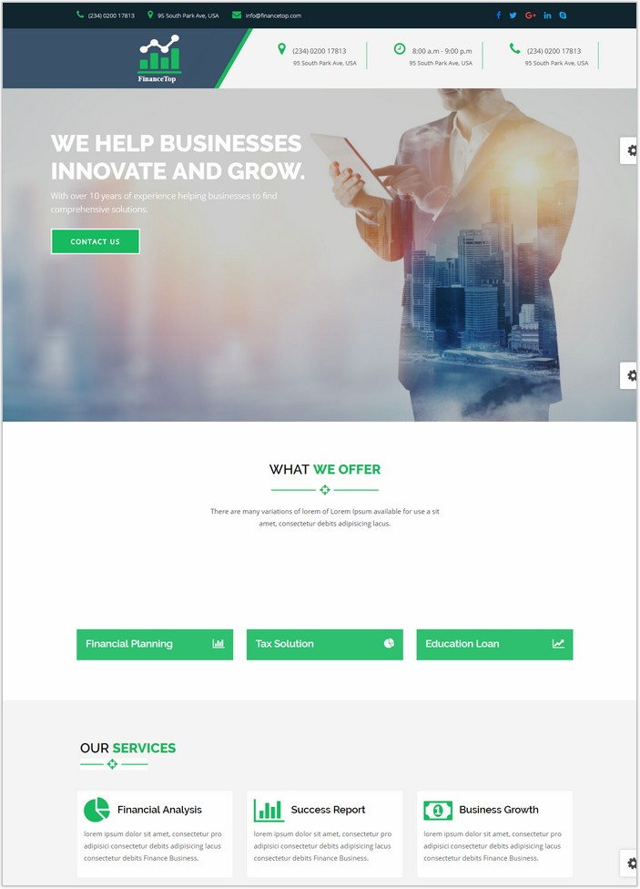 FinanceTop – Consulting, Business, Finance Template