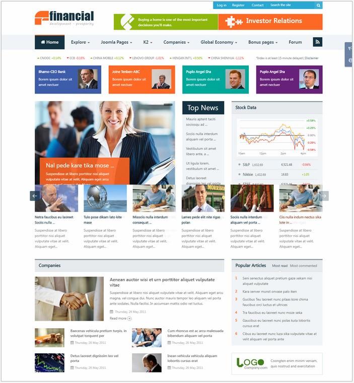Financial - Responsive Joomla News Template