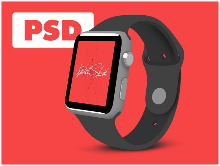 Flat Apple Watch Sport - FREE PSD