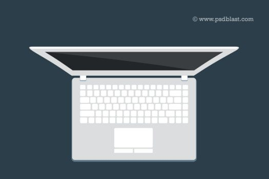 Flat Macbook Pro Top View PSD