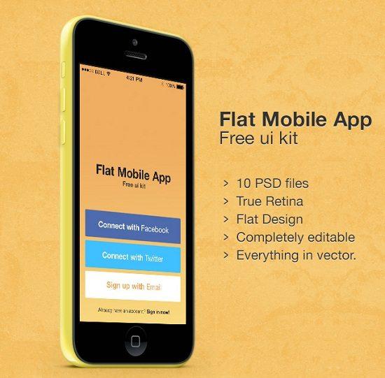 Flat Mobile App – Free UI kit PSD