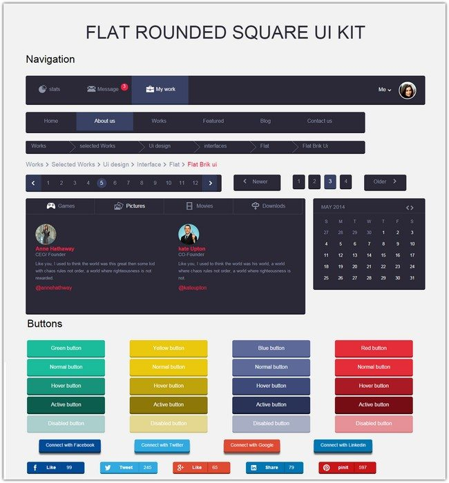 Flat Rounded Square UI Kit Responsive template