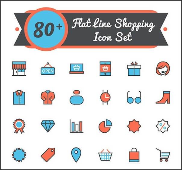 Flat Shopping Line Icon Set