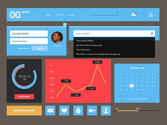 Flat UI kit PSD Freebie