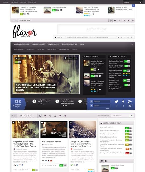 Flavor - Responsive HD Magazine Review AJAX Theme