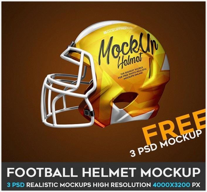 Football Helmet – 3 Free PSD Mockups
