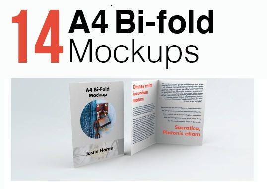 Free Bi Fold A4 Brochure Leaflet Mockup Pack