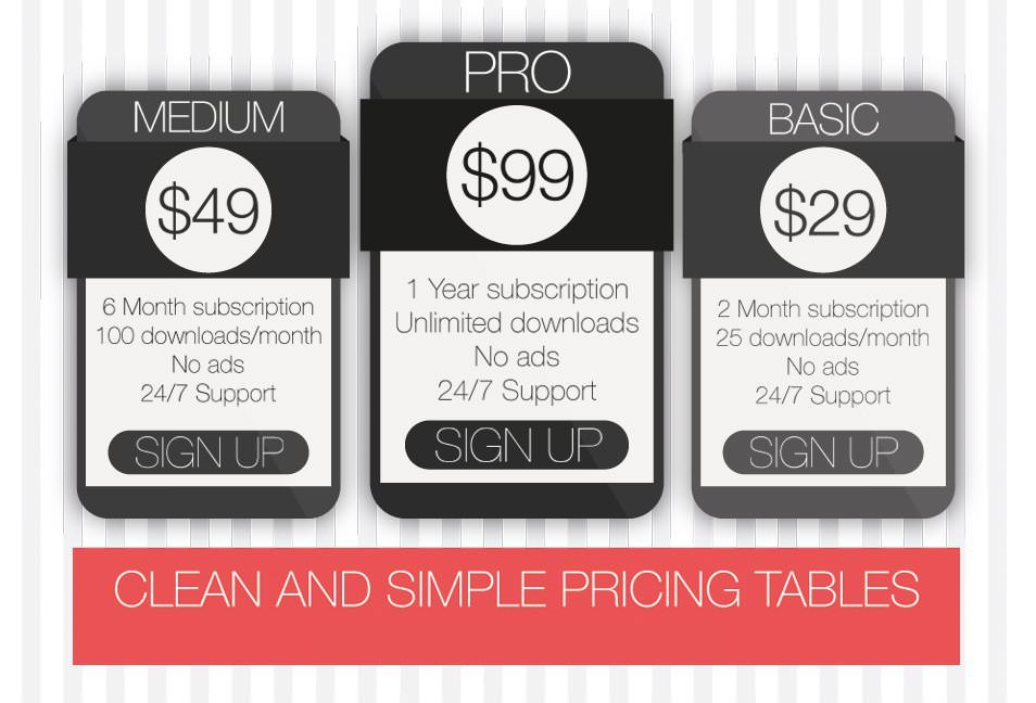 Free Clean and Simple Pricing Tables (PSD)