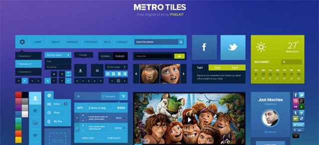 Free Download Metro Tiles UI Kit (PSD)