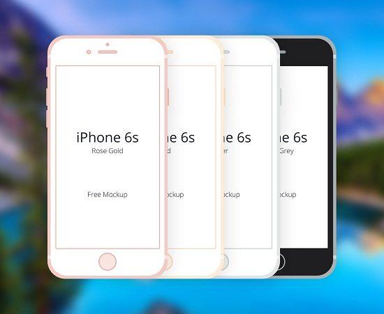 Free Flat iPhone 6S PSD Mockup