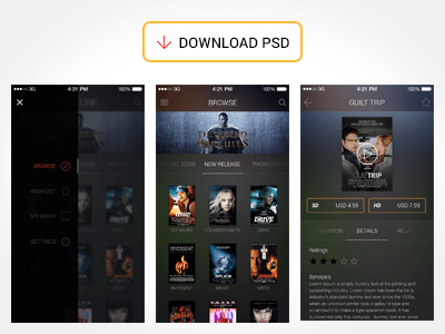 Free Movie App UI PSD