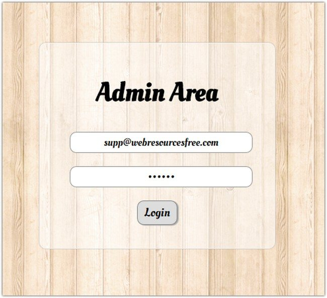 free php jquery login form template