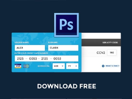 Free PSD – Fill Credit Card Online Data