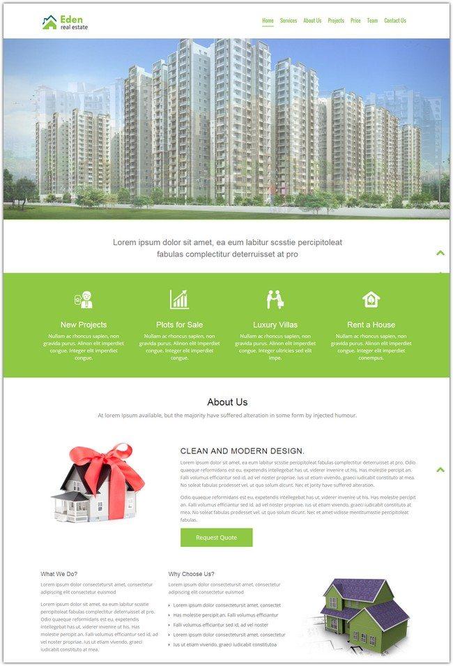 Free Real Estate HTML5 Website Templates Eden