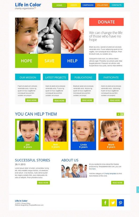 Free Responsive HTML5 Theme for Charity Site