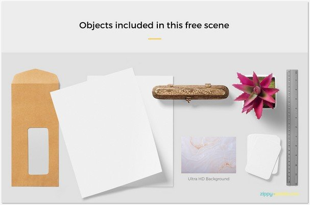 Free Stationery Mockup Scene With 6 Objects