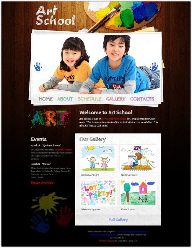 Free Website Template - Art School