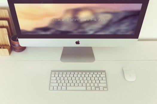 Free iMac photorealistic mockup set