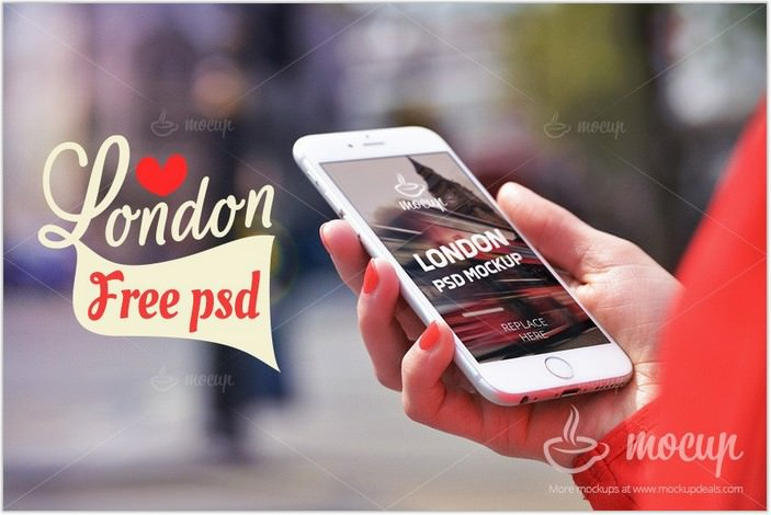 Free iPhone 6 PSD Mockup in London