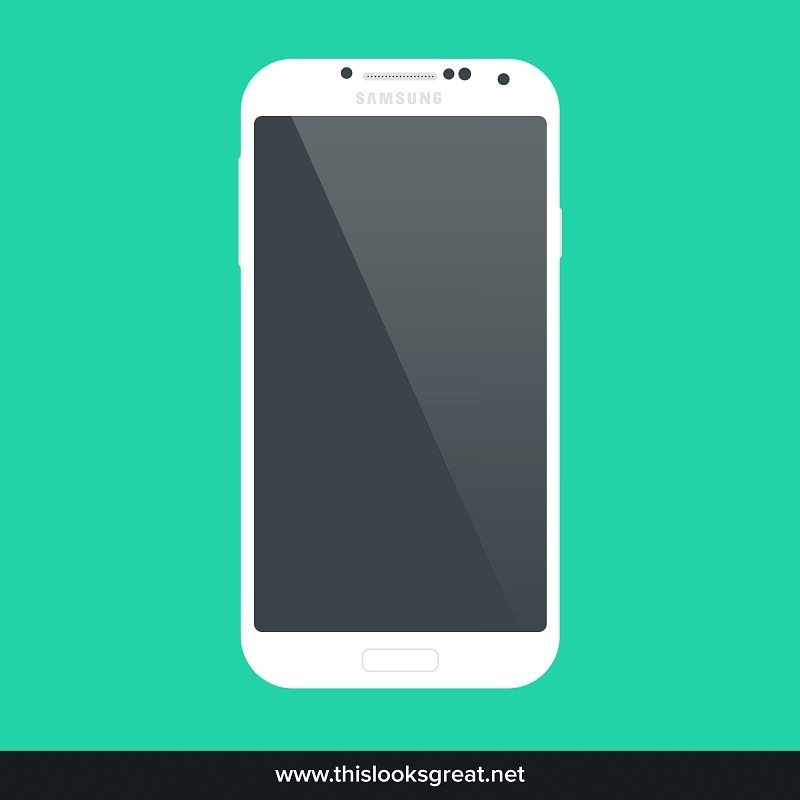 Freebie PSD Samsung Galaxy S4 Flat Mockup