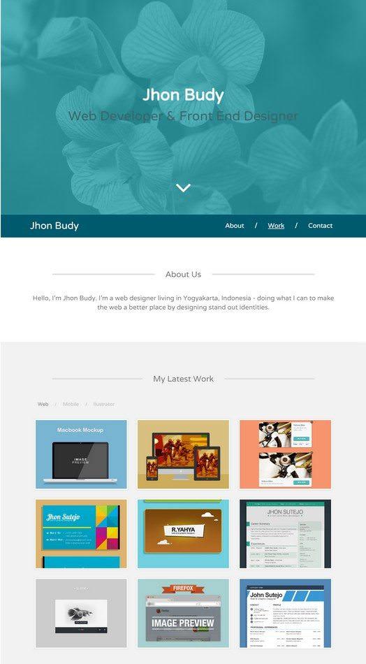 Gaban Single Page Personal Portfolio Template HTML CSS Free