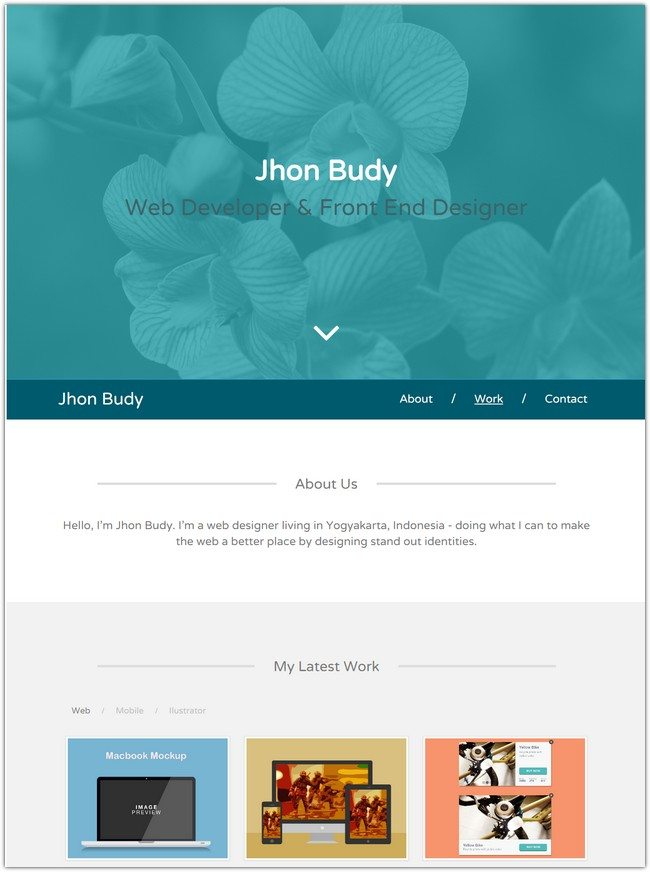 Gaban Single Page Personal Portfolio Template